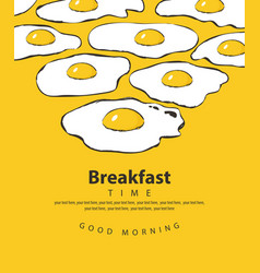 banner for breakfast time with fried eggs vector image