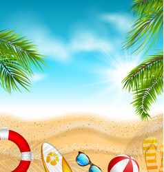 beautiful banner with palm leaves beach ball vector image