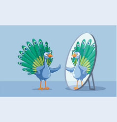 Beautiful peacock admiring itself in mirror vector