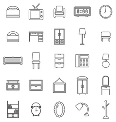 Bedroom line icons on white background vector