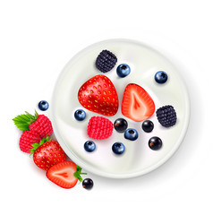 Berry yoghurt realistic composition vector