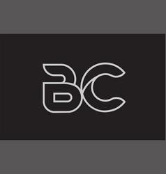 Black and white alphabet letter bc b c logo vector