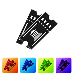 Black museum ticket icon isolated on white vector