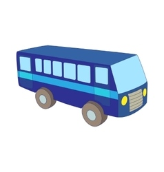 Blue bus icon in cartoon style vector image