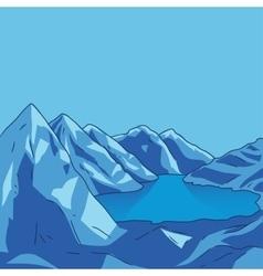 Blue mountain Glacial lake landscape vector image