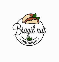 brazil nut logo round linear peeled nut vector image