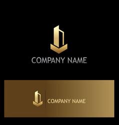 Building gold logo vector