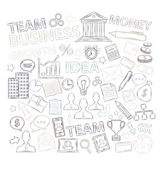 business icons set with diagrams humans ideas vector image
