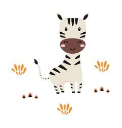 Cartoon zebra on white background cute animals vector