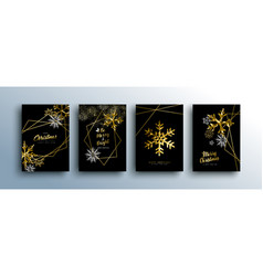christmas luxury gold greeting card collection vector image