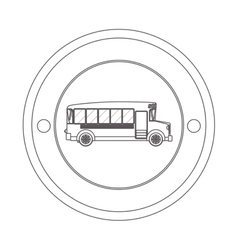circular contour of silhouette with school bus vector image