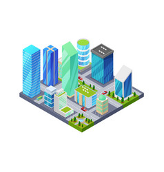 city quarter isometric 3d icon vector image