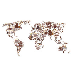 Coffee world map for cafeteria cafe vector