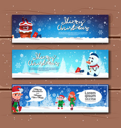 collection of christmas and new year horizontal vector image