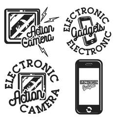 Color vintage electronic gadgets emblems vector