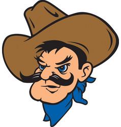 cowboy head logo mascot vector image