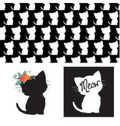 cute cat silhouettes isolated vector image