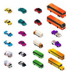 different vehicle designs in isometric vector image