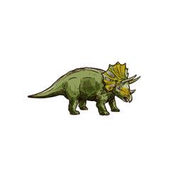 Dinosaur cartoon prehistoric horned animal vector