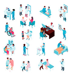 Doctors and nurses isometric set vector
