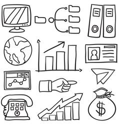 Doodle of element business set vector