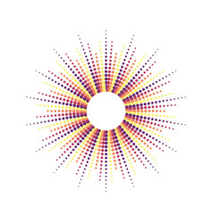 dots drawing of rays of the sun in vintage style vector image