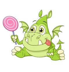 Dragon baby with candy vector