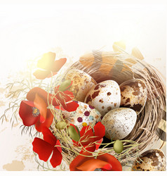 easter grunge background with poppy flowers vector image