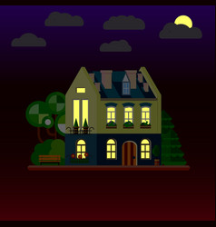 flat house at night two-storey vector image