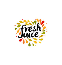 fresh juice emblem colorful juice drops splashed vector image