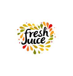 Fresh juice emblem colorful juice drops splashed vector