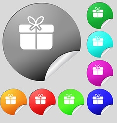 Gift box icon sign Set of eight multi colored vector image