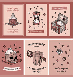 Gift tag set postcard in boho magic style vector