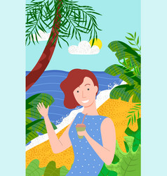 Girl with drink on seaside vacation posing vector
