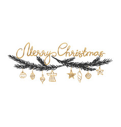 handwritten black and gold merry christmas card vector image