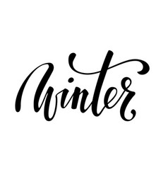 hello winter hand drawn calligraphy and brush pen vector image