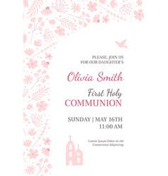 Holy communion invitation design template vector