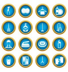 House cleaning icons blue circle set vector