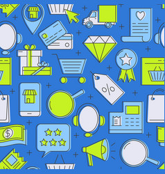 internet shop seamless pattern in line style vector image