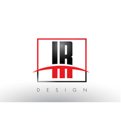 Ir i r logo letters with red and black colors and vector