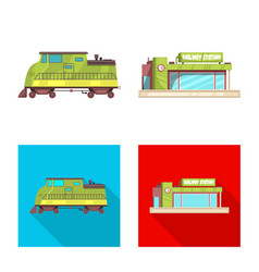 isolated object of train and station logo vector image