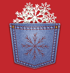 jeans back pocket with snowflakes on a red vector image vector image