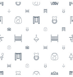 kid icons pattern seamless white background vector image