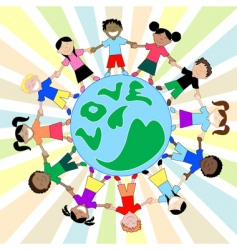 kids love globe vector image