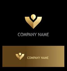 letter v victory gold logo vector image