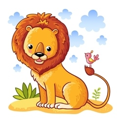 Lion sitting on a sandy meadow vector