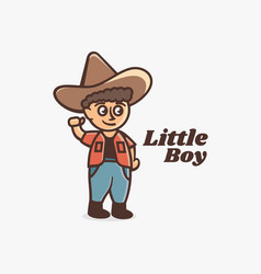 logo little boy simple mascot style vector image