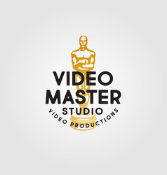 logo video production award oskar gold vintage vector image