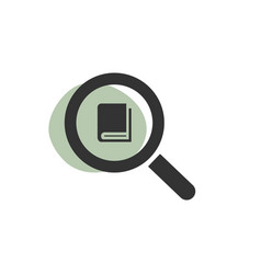 magnifying glass looking for a book isolated web vector image