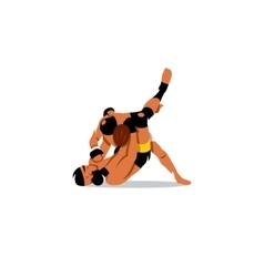 Martial Arts sign Two men fighting vector